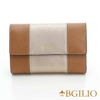 義大利BGilio-十字紋牛皮雙色中夾-金-棕色1