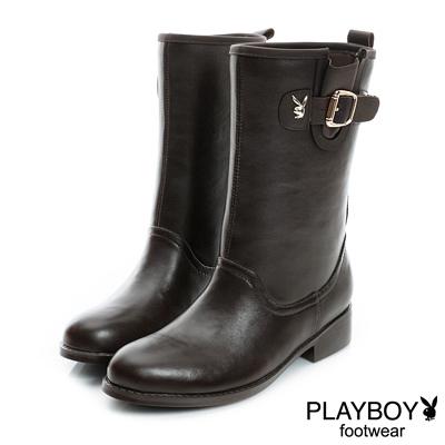 PLAYBOY-紳士之心-小兔頭釦環中筒雨靴-咖-女