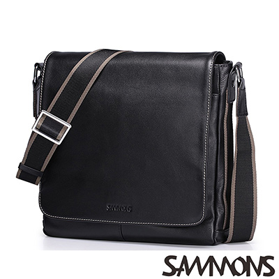 SAMMONS-真皮查理簡約掀蓋斜背包-百搭黑