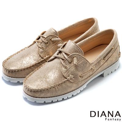 DIANA-超軟Q-復古雙色質感平底休閒鞋-金