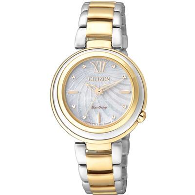 CITIZEN 經典瑰麗亮眼貝殼時尚腕錶(EM0335-51D)-銀x金/30mm