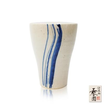 日本長谷園伊賀燒 日式陶土杯(挑藍刷毛目款)