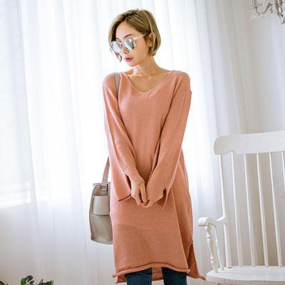 正韓-粉嫩色捲邊長版開衩針織衫-共六色-N-C21
