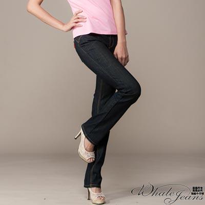 WHALE JEANS 流行修長顯瘦中低小直牛仔褲
