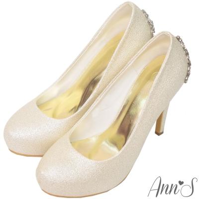 Ann'S公主的珠寶盒-水鑽皇冠防水台厚底高跟婚鞋-金