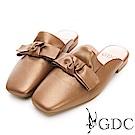 GDC-真皮大牌好搭質感蝴蝶結拖鞋-古銅色