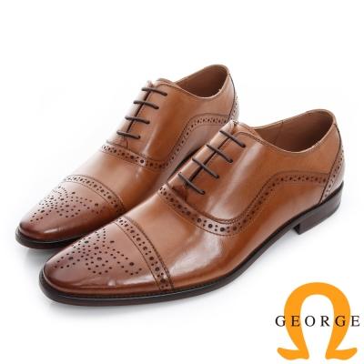 GEORGE 喬治-沖孔繫帶真皮底手工紳士鞋-棕色