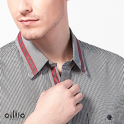 歐洲貴族oillio 短袖襯衫 紳士細格 特色領巾 灰色