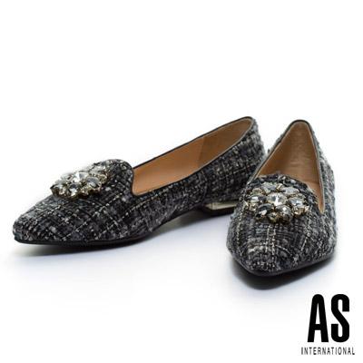 AS-華麗鑽飾毛呢尖頭樂福平底鞋-黑