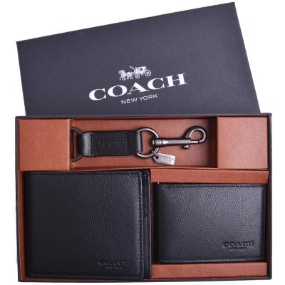 COACH 素免防刮皮革短夾/卡夾/鑰匙圈三件禮盒組-黑(附原廠禮盒)