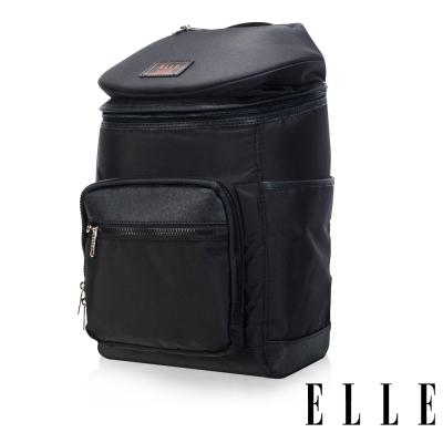 ELLE HOMME 法式精品休閒12吋筆電設計頭層皮直立體圓筒大容量後背包設計款-黑