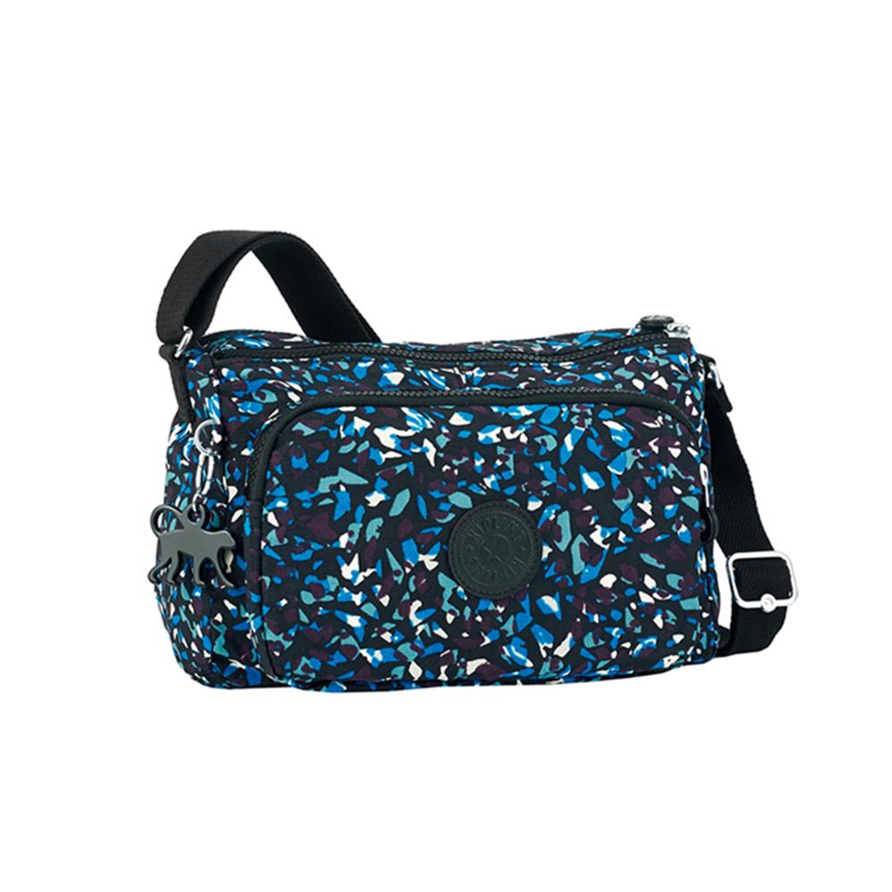 Kipling 藍白礦石印花側背包