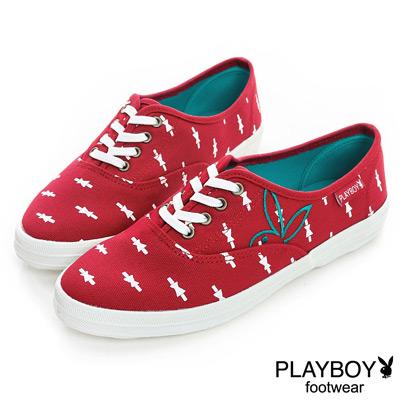 PLAYBOY-日系簡約-滿版小蝴蝶結休閒鞋-紅