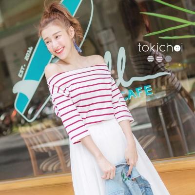 東京著衣 多色船型領橫條紋上衣-S.M(共三色)