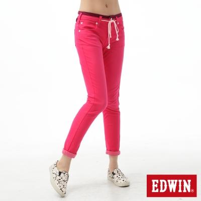 EDWIN AB褲 迦績褲JERSEYS涼感色褲-女-桃紅