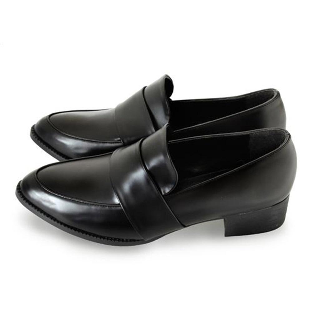 FUFA  MIT金屬感漆皮尖頭粗跟樂福鞋 (FB11) 黑色