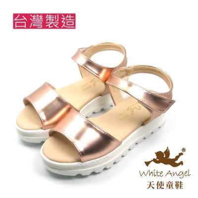 天使童鞋-J839 時尚優雅厚底涼鞋-浪漫金