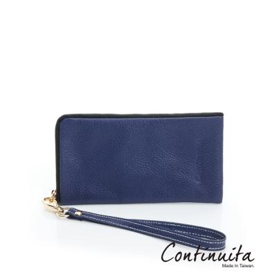 Continuita-康緹尼-MIT-頭層牛皮多功能手機套-藍