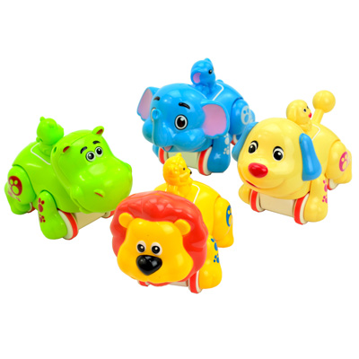 Happy Zoo幼兒趣味玩具動物系列磨輪迴力車四入組