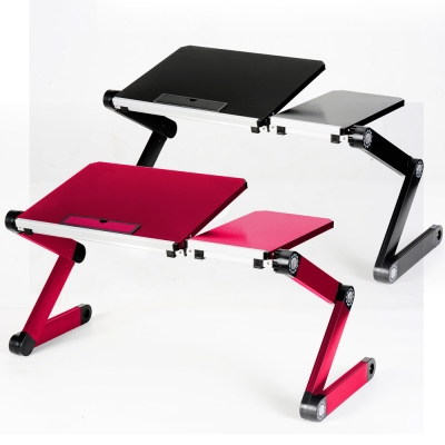 LISAN百變鋁合金大尺寸可折疊電腦桌-科技紅/極品黑