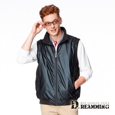 Dreamming 歐規時尚皮感百搭立領背心外套-黑色