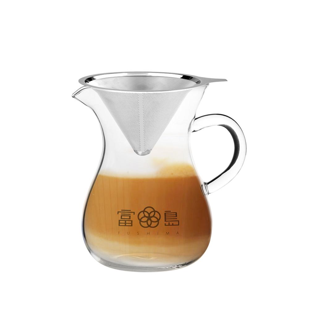 FUSHIMA富島 精細VI不鏽鋼免濾紙濾杯1~2人份+無塑菁粹玻璃分享壺850ML