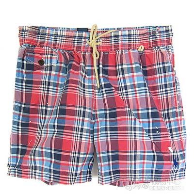 Ralph Lauren 格紋海灘鬆緊男短褲(紅藍)