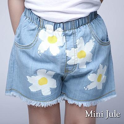 Mini Jule 童裝-短褲 白花抽鬚下擺鬆緊短褲(藍)
