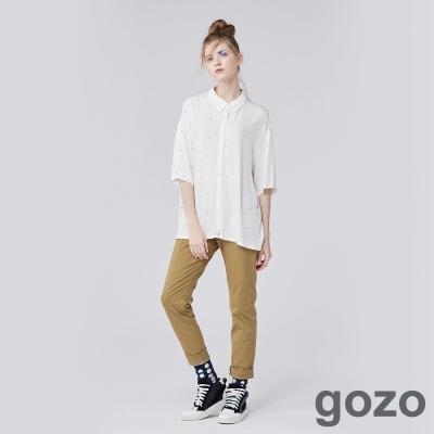 gozo 個性風格直筒創作系工作褲 (二色)-動態show