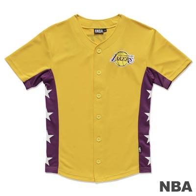 NBA-洛杉磯湖人隊印繡花開襟球衣-黃(男)