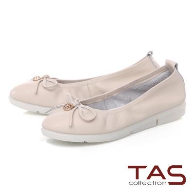 TAS 金屬圓飾蝴蝶結牛皮娃娃鞋-優雅米