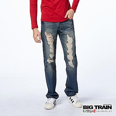 BIG TRAIN 街頭割破直筒褲-男-深藍