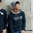 BIG TRAIN 特殊彈力花紗帽T-男-藍黑花紗