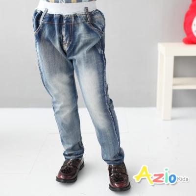Azio Kids 童裝-長褲 刷白多口袋鬆緊長褲(藍)