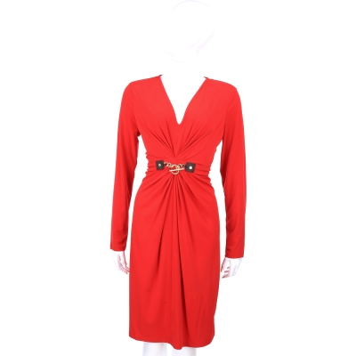 MICHAEL KORS 金屬扣環設計V領長袖洋裝(紅色)