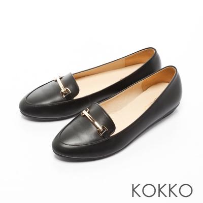 KOKKO-英倫牛皮金屬鍊透氣樂福休閒鞋-不敗黑