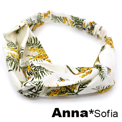 【2件7折】AnnaSofia 鈴蜂甜果交叉結 彈性寬髮帶(白底系)