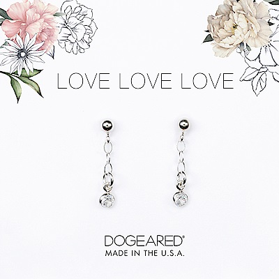 Dogeared love 珍愛系列 經典圓鑽耳環 銀色垂墜式耳環 附原廠盒
