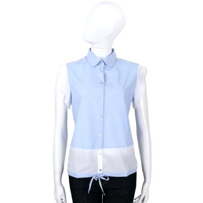 MARELLA 藍色抽繩綁帶荷葉袖排釦上衣
