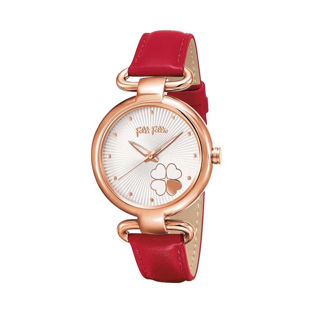 Folli Follie 幸運草優雅腕錶-銀x紅色/34mmWF15R029SPW-RE