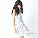 OUWEY歐薇 輕甜車繡花條紋洋裝(白)-動態show