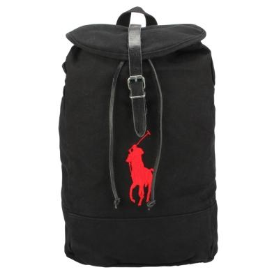 RALPH LAUREN POLO 經典大馬刺繡LOGO帆布後背包-黑色