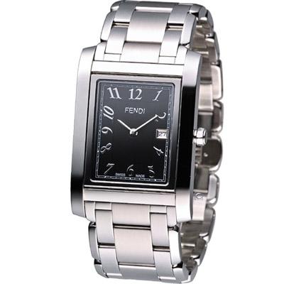 FENDI Loop 翻轉系列時尚腕錶-黑/32x43mm