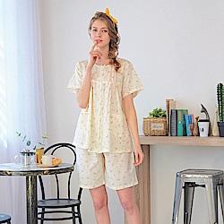 睡衣 精梳棉小碎花平織短袖兩件式睡衣(R77020-11淺米黃) 蕾妮塔塔