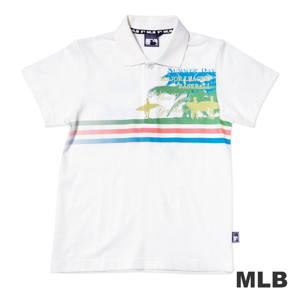 MLB-紐約洋基隊渡假風格POLO衫-白男童