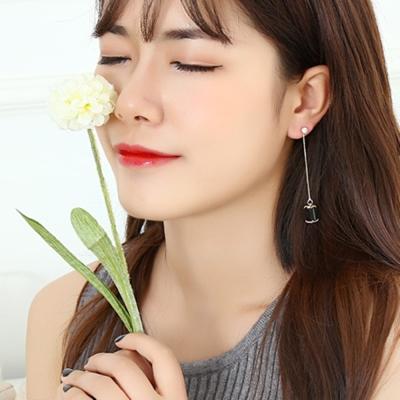 梨花HaNA-無耳洞韓國黑水晶吊綴修飾臉型耳環夾式