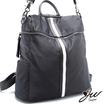 JW-後背包-真皮裴瑞拉牛皮配尼龍黑白線條後背包-共一色