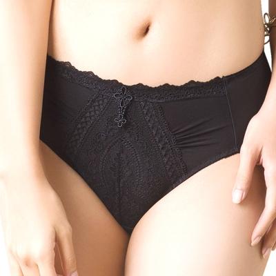 思薇爾 浮華美學系列M-XXL蕾絲中腰三角內褲(黑色)