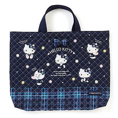 Sanrio HELLO KITTY蘇格蘭藍格紋系列布面提袋/補習提袋