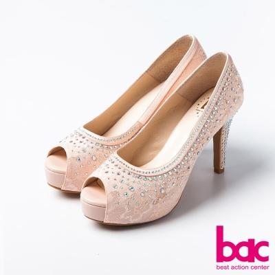 bac愛情蕾絲鑲鑽典藏蕾絲紋魚口高跟鞋淺粉